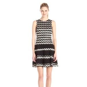Betsy & Adam Chevron Fit and Flare Dress Size 14